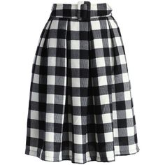 Chicwish Check and Pleats Belted Midi Skirt (115 BRL) ❤ liked on Polyvore featuring skirts, bottoms, faldas, midi skirt, black, plaid skirts, pleated midi skirt, checkered skirt, knee length pleated skirt and plaid midi skirt