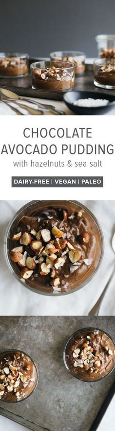 (dairy-free, vegan, paleo) Chocolate Avocado Pudding with Hazelnuts and Sea Salt - A simple, healthy and delicious dessert that's made from avocados, raw cacao and maple syrup.