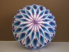 Illusions of blue on white - hand embroidered thread ball - japanese temari