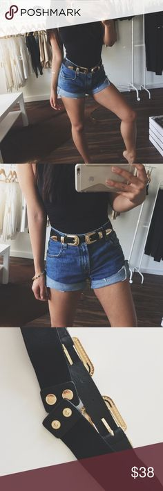 The Saddle Belt Black belt with gold hardware. Elastic waistband for one size fits all and maximum comfort. High in demand i am going to sell out of these fast. No trades! Price is firm! I am also wearing the 808 Bodysuit in black. Accessories Belts