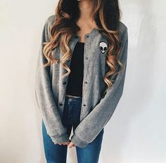 Grey Bomber Styled Cotton Jacket/ Black Crop Top/ Navy Jeans