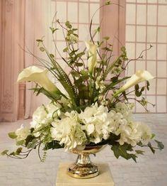 White Silk Hydrangea and Calla Lily Arrangement , Silk Floral Centerpiece White Flower Arrangements, Vase Arrangements, Hydrangea Flower, Silk Flowers, Silk Hydrangea, Flower Diy, Colorful Flowers, Purple Flowers, Flower Vases