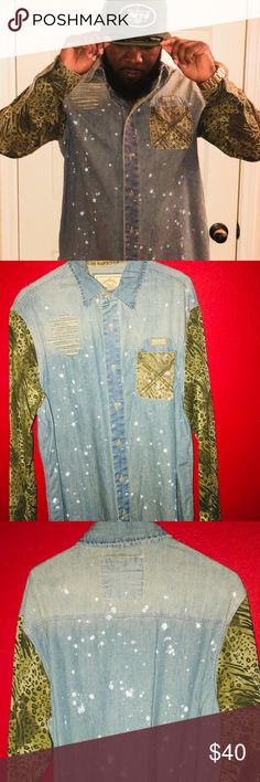 Parish Nation Button Down Shirt Very stylish urban branded shirt with a combination of Blue jean fabric and animal print sleeves. Never worn but not tags as I usually remove tags when I buy them. Parish Nation Shirts Casual Button Down Shirts