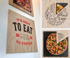 Helping Pie Five Pizza Co., restaurant rebranding, pizza,  ads, environmental graphics, wall art