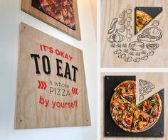 Helping Pie Five Pizza Co., restaurant rebranding, pizza, ads, environmental graphics, wall art