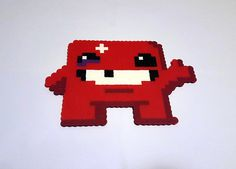 Super Meat Boy, Perler Bead Pixel Art, 8 bit Meat Boy gamer gift, Christmas, Birthday, Holiday, Bandage Girl, Hama Bead, handmade fun art