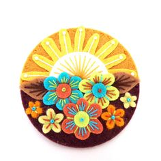 SUMMER felt brooch pin with freeform embroidery - scandinavian style