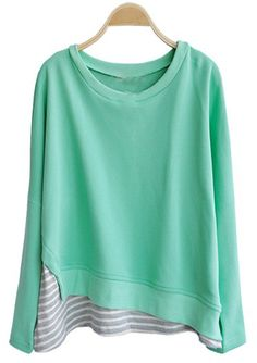 Green Round Neck Long Sleeve Striped Loose T-Shirt