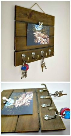 25 Easy DIY Key Holders and Rack Ideas DIY Wooden Key Rack Tutorial Handy-Ringhalter &Handy-Ringhalter &Handy-Ringhalter & Diy Wall Decor, Diy Home Decor, Wooden Key Holder, Diy Hooks, Tropical Home Decor, Diy Wood Projects, Wood Crafts, Small Wooden Projects, Diy Crafts