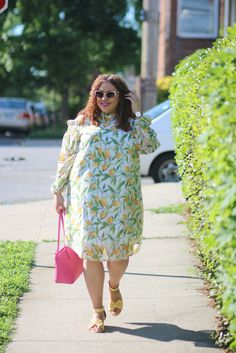 Ashley Stewart Lemon Print Cold Shoulder Dress