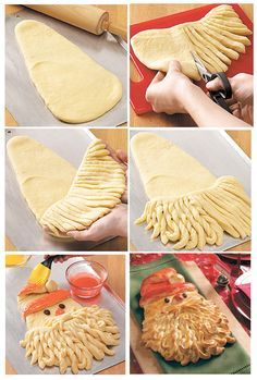 """SANTA: • 2 loaves thawed Bread Dough, Red & White Food Gel, 2 Raisins, 2 whisked Egg Yolks • Oven 350˚. 1) On floured surface shape part of dough into Santa's head & hat. 2) Shape & flatten piece into a beard. Cut into strips to w/in 1"""" of top. 3) Add to face. 4) Twist strips & curl up ends to shape beard. 5) Fix hat & mustache. Add food gels to egg yolks & brush on Santa. Cover w/foil. Bake 15 min. Uncover. Bake 12 min. Cool."""