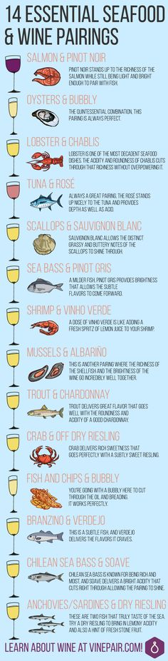 Wine with Fish: 14 Wine and Seafood Pairings Food Infographic Come unstuck when it comes to matching fish and seafood with wine? Here are 14 essential seafood pairings, from red to white wine, that'll make you a pro. Seafood Dishes, Fish And Seafood, Wine Guide, Wine Parties, Wine Tasting Party, Wine Cheese, In Vino Veritas, Wine And Beer, Wine And Spirits