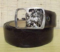 Cinturón de piel marrón con hebilla de cabeza de caballo en plata de 925milésimas, para caballero de ACUARI en Etsy