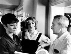 With co-star Shirley MacLaine and director William Wyler on the set of THE CHILDREN'S HOUR (1961).