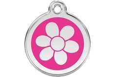 Red Dingo Custom Engraved Dog ID Tag - Flower * You can get more details here : Dogs ID tags and collar accessories