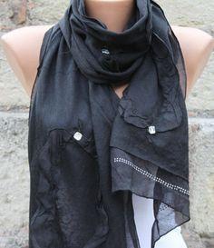 Black - Shawl Scarf - Cowl | anils - Accessories on ArtFire