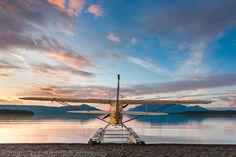 Morning sunrise over Naknek lake and a super cub bush plane on floats along the shore, Katmai National Park, southwest, Alaska. Katmai National Park, National Parks, Piper Aircraft, Aircraft Images, Bush Plane, Sunrise Lake, Float Plane, Morning Sunrise, Nose Art