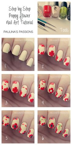 Poppy Flower Nail Art Tutorial - pay tribute to all those who lost their lives #remembrance...x