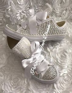 Pearl and Crystal Rhinestone Custom Converse Wedding Shoes