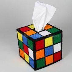 rubix-cube-tissue. an idea for the extra plastic canvas/yarn Más