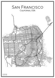 Plan De Ville Affiche Art San Francisco