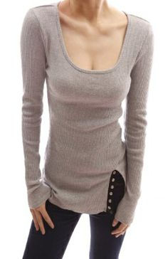 Patty Women Cotton Scoop Neck Ribbed Long Sleeve Tee  -  www.chicaholics.com