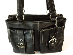 Coach 6468 Soho Large Tote Shopper Purse Hand Bag Black Glove Leather Satchel #Coach #TotesShoppers