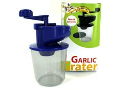 """Garlic grater by Sterling. $12.99. Material: plastic. Colors: transparent,black,red. This garlic grater is new and improved. It is made of hard plastic and is about 6"""" tall. It is made in China and has a UPC code."""