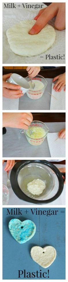 Tourner en plastique dans le lait avec du vinaigre! expériences scientifiques impressionnants pour les enfants!