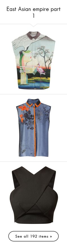 """""""East Asian empire part 1"""" by limitless-velocity ❤ liked on Polyvore featuring tops, shirts, multicolor, button front shirt, slim shirt, green top, cotton shirts, tailored shirts, blouses and blue flower print"""