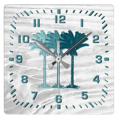 Turquoise Colored Palm Trees Square Wall Clock