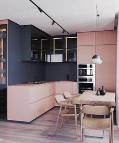 Modern Kitchen Interior Die grys en pienk werk baie mooi saam vir 'n moderne kombuis Home Interior Design, Interior Design Kitchen, Home Decor Kitchen, Modern Interior Design, House Interior, Home, Kitchen Colour Schemes, Decor Interior Design, Modern Kitchen Design