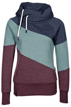 Color Block Long Sleeves Casual Hoodie For Women
