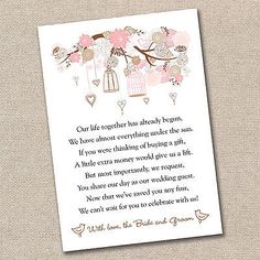Wedding Money Poem x 50 by LittleMagicPeanut on Etsy money gift