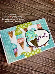 Ice Cream Punch, Ice Cream Set, Greeting Card Template, Card Templates, Fabric Cards, Birthday Cards For Her, Stamping Up Cards, Scrapbook Cards, Scrapbooking