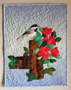 Sally Papin Fiber Art: Chickadee on Fence Post Bird Applique, Applique Patterns, Applique Quilts, Quilt Pattern, Quilting Classes, Quilting Projects, Art Quilting, Crazy Quilting, Quilting Ideas