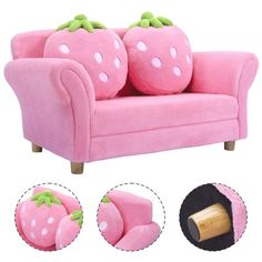 Shop for Costway Kids Sofa Strawberry Armrest Chair Lounge Couch Pillow Children Toddler Pink. Get free delivery at Overstock - Your Online Furniture Outlet Store! Get in rewards with Club O!With this cute style Kids Sofa your children will now be ab Lounge Couch, Couch Set, Cute Furniture, Bed Furniture, Furniture Outlet, Online Furniture, Toddler Furniture, Furniture Websites, Furniture Movers