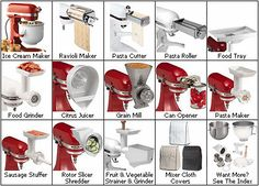 These attachments  - Sausage Stuffer, Rotor slicer shredder, Mixer cloth covers, pasta maker, pasta cutter, pasta roller