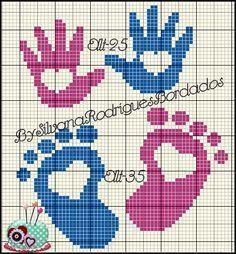 Hand and foot x-stitch Cantinho da Artes: Pezinho e mão ponto cruz