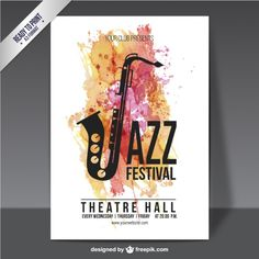 Watercolor jazz festival poster Free Vector