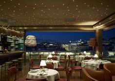 New rooftop lounge floor) of with a panoramic Athens view! Escape, Rooftop Lounge, Hotels, Hospitality, Flooring, Places, Outdoor Decor, Table, Athens Greece