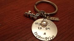 My heart is on a locomotive. Railroad wife keychain