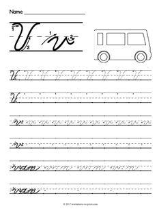 Free Printable Cursive V Worksheet
