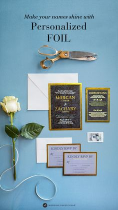 Add foil to any text to create a 'wow' look. Country Style Wedding, Chic Wedding, Wedding Styles, Our Wedding, Wedding Paper Divas, Country Wedding Invitations, Wedding Stationary, Marriage Vows, Creative Lettering
