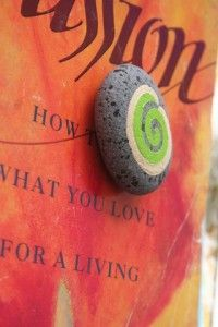 rock with cool green swirl