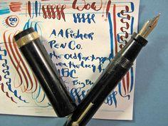 vtg Oversize Big Fountain Pen Flex 14k Gold #6 Nib A.A. FISHER Black Flat Top #AAFisher