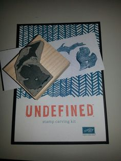 "Carved my first stamp using Stampin' Up's ""Undefined"" carving kit. Way too cool and you do NOT need to be able to draw!   www.undertheinkfluence.com"