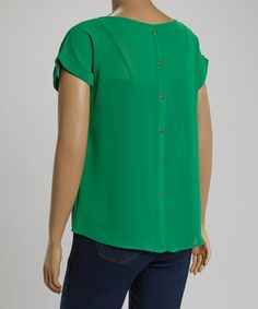 Another great find on #zulily! Green Tab-Sleeve Dolman Top - Plus #zulilyfinds
