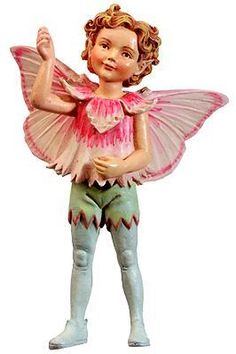 Retired Cicely Mary Barker Pink Boy Flower Garden Fairy Ornament Figurine $35.95 ebay seller rogleykate