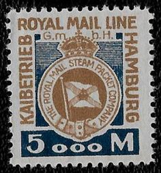 + 1921 The Royal Mail Lines Steam Ship Packet Co.Hamburg Germany 5000 Mark